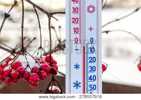 The Thermometer An The Background Of Guelder Rose In Wintershows A Subzero Temperature