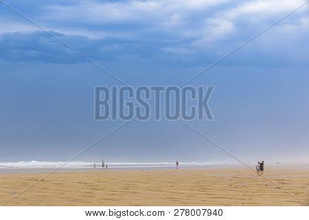 Ocean Beach On The Atlantic Coast Of France Near Lacanau-ocean, Bordeaux
