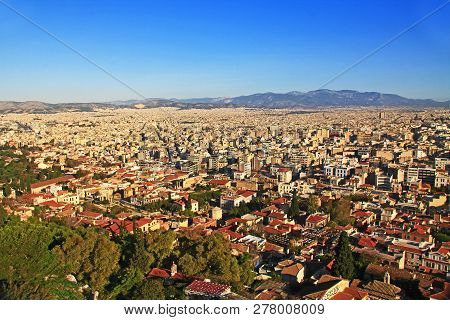 View From Acropolis Hill Of The City Of Athens In Athens, Greece.