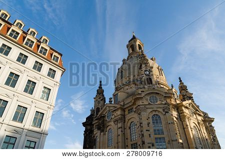 Frauenkirche Reconstructed Protestant Church Contrasting With A Renovated Apartment Building In Dres