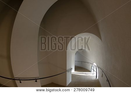 Spiral Shaped Hallway Leading To The Tower Of Reconstructed Frauenkirche Church In Dresden, Germany.