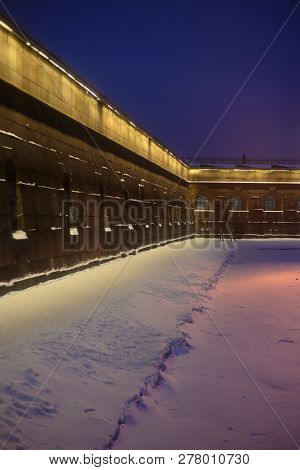 Sovereign Bastion Of Peter And Paul Fortress In St.petersburg At Winter Evening, Russia.
