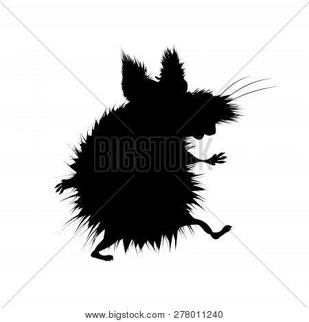 Black Silhouette Terrible Beast. Werewolf Silhouette Ancient Mythology Fantasy. Vector Illustration.