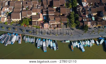 Aerial View Panorama Of Hoi An Old Town Or Hoian Ancient Town. Royalty High-quality Free Stock Photo