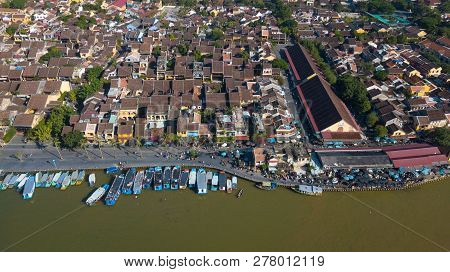 Panorama Of Hoian Market. Aerial View Of Hoi An Old Town Or Hoian Ancient Town. Royalty High-quality