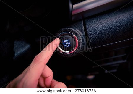 Push Start Car / Button Push Engine Start Stop In Modern Car Technology - Hand Finger Press Button O