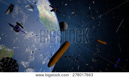 Space Debris Floating In The Orbit Of Planet Earth. Old Satellites, Rockets Of Support, Pieces Of Me