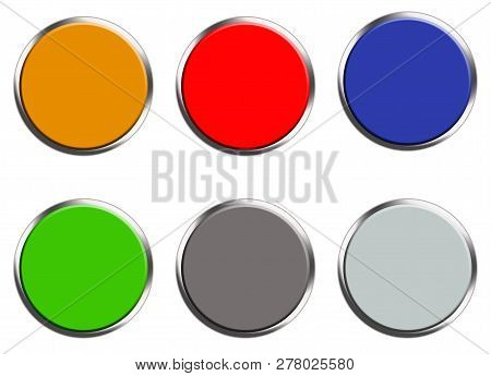 Set Of Colored Web Buttons On White Background. Flat Style. Set Of Round Button For Your Web Site De