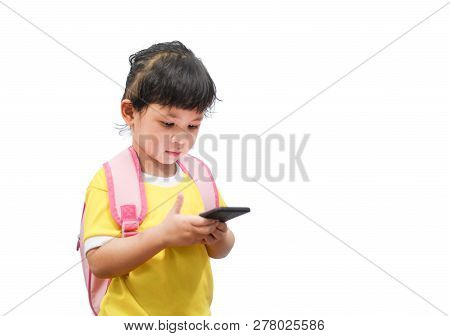 Children Playing Smartphone / Child Girl Hold Telephone In Hand Watching Cartoons At The School - As