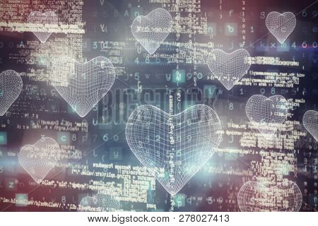 3d image of blue heart shape  against image of data
