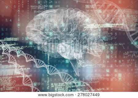 3d image of human brain against image of data
