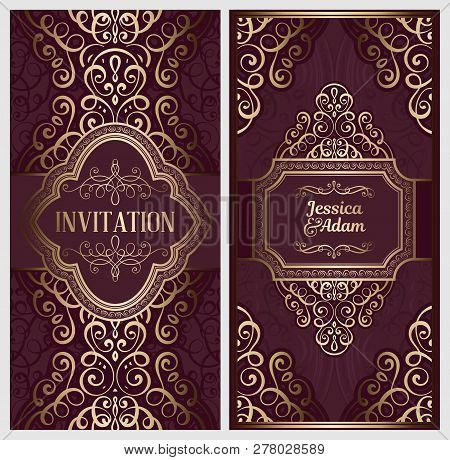 Wedding Invitation Card With Gold Shiny Eastern And Baroque Rich Foliage. Ornate Islamic Background