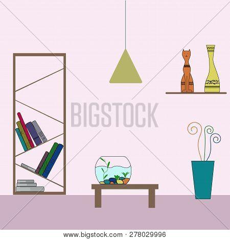 Home decoration colorful execution. Shelf, books, figurine, cat, moneybox, aquarium, flower, cactus, flowerpot, book shelf, table, lamp. Vector flat illustration. Eps 10. poster