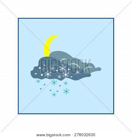 Weather Winter Icon. Moon And Cloud. Meteorology Symbol Thunderstormy. Isolated Icon Bad Weather. De