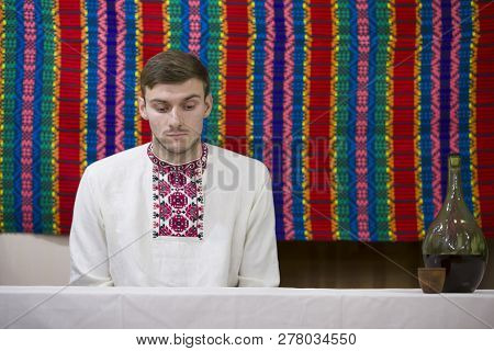 Belarus, Gomel, November 24, 2018. Reconstruction Of An Ethnic Old Belarusian Wedding.ukrainian Man