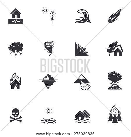 Natural Disaster Catastrophe Icons | Black Vector Pictograms Isolated On White