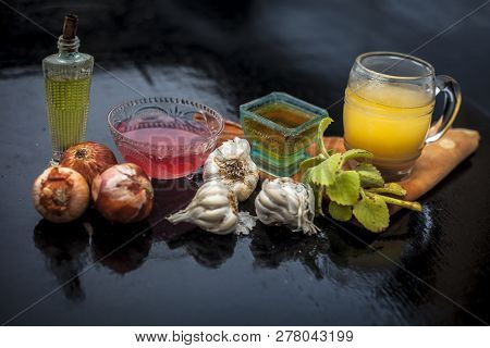 Close Up Of Hair Treatment Or Remedy To Increase Hair Growth Instantly Consisting Of Onion Juice, Ga
