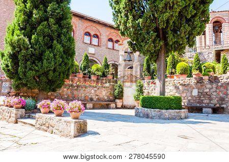 Meteora, Greece - June 16, 2013: The Inside Courtyard Of The Great Meteoron Monastery Or Holy Monast