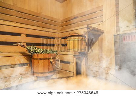 Interior Of Finnish Sauna, Classic Wooden Sauna, Finnish Bathroom, Relax In Hot Sauna With Steam