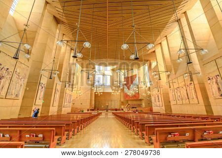 Los Angeles, California, United States - August 9, 2018: Interior And Central Nave Of Cathedral Of O
