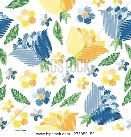 Embroidery Seamless Pattern With Blue And Yellow Flowers On White Background. Fashion Design For Fab