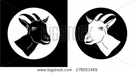Goat. Goat Head. Goat Isolated, Black Silhouettes Of The Head