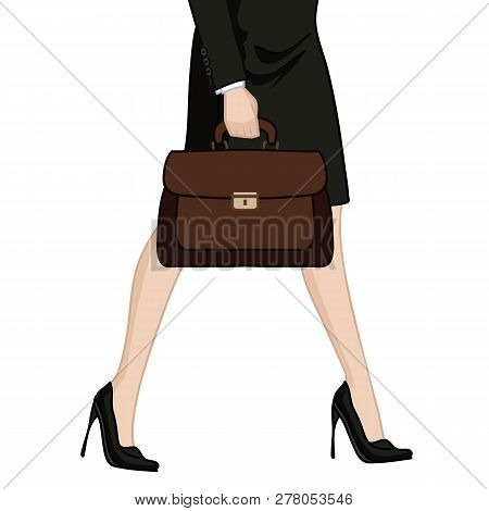 Illustration Depicting The Legs Of A Business Woman In High Heels With Briefcase
