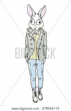 Rabbit Mod. Rabbit-man Model  Fashion Man While Standing Against White Background. Isolated.