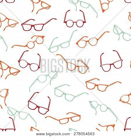 Seamless Retro Glasses On White Background. Hand Drawn Style Vector Design Illustrations