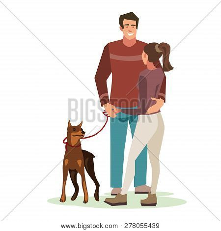 Young People (guy With A Dog And Girl Talking) Stood In A Friendly Hug. Illustration Of People With