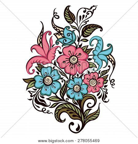Bouquet Of Flowers On A White Background. Design For Wedding, Valentines, Birthday