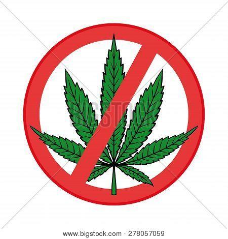 Cannabis (marijuana) Leaf In Flat Vintage Style. Prohibition Sign Icon