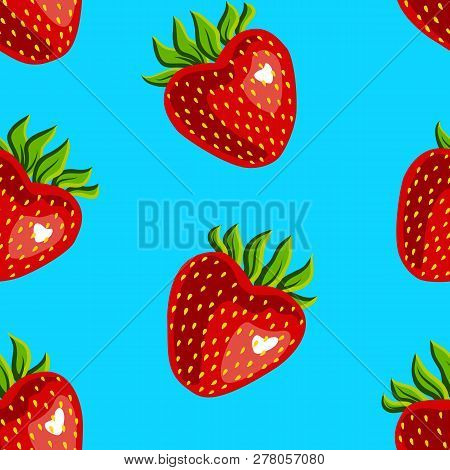 Seamless Pattern Of Strawberries On A Blue Background - Raster Version Strawberry. Cute Design For T