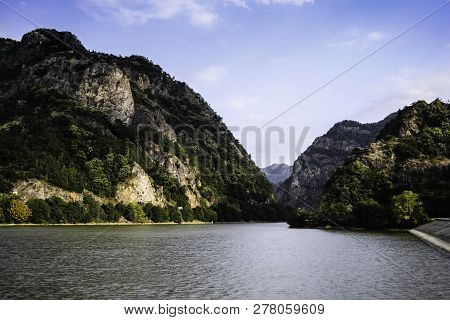 Landscape With The Valley Of Olt River Between The Mountains.