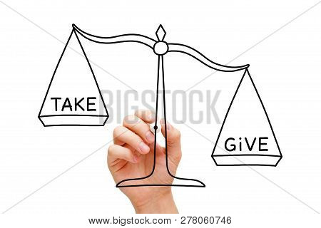 Hand Drawing Give More Than You Take Scale Concept. It Is More Blessed To Give Than To Receive.