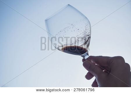 Sediment In A Glass Of Old Wine. Sediment In Wine