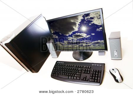 Desktop Pc  Computer On White Background