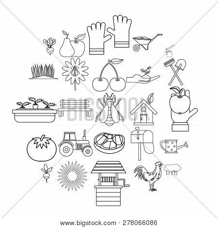 Hamlet Icons Set. Outline Set Of 25 Hamlet Vector Icons For Web Isolated On White Background