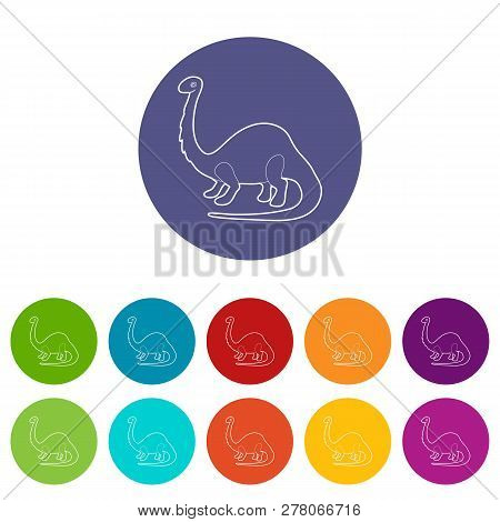 Apatosaurus Dinosaur Icons Color Set Vector For Any Web Design On White Background