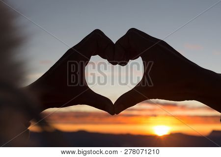 Woman Making Heart Shape During Sun Rise, God Is Love Concept, Heart Shape, Mountain Tourism, Symbol