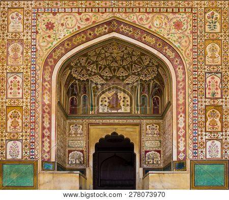 Detail Of Ganesh Pol Entrance In Amber Fort Palace, Jaipur, Rajasthan, India
