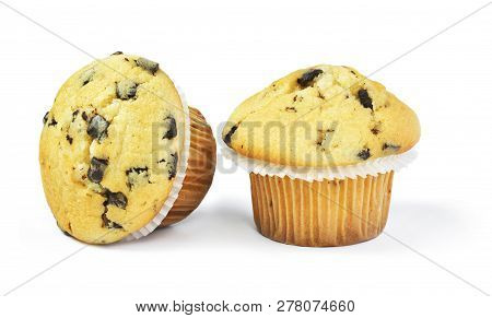 Delicious Vanilla Muffins With Chocolate, Isolated On White Background. Muffins With Paper, Sweet Fo