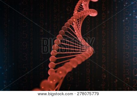 3D Illustration Of Dna Molecule. The Helical Red Molecule Of A Nucleotide In Organism Like In Space.