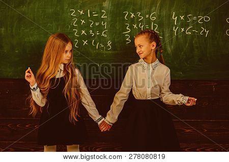 Friendship. Friendship Of Two School Girls. Friendship Concept. Friendship Relations Of Little Girls