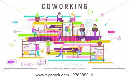 Coworking Space Concept - Young Cartoon People Working In Creative Office And Co-working Center. Vec