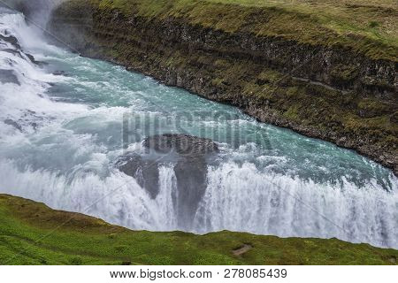 View on the Gullfoss waterfall in southwestern part of the Iceland poster