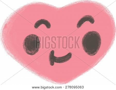 Fall In Love. Smiling Pink Heart Shape And Symbol For Valentines Day. Heart Funny Logo. Close Your E