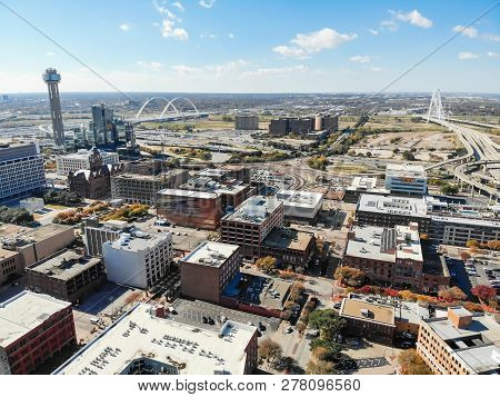 Top View Uptown Dallas Buildings With Landmark Margaret Hunt Hil