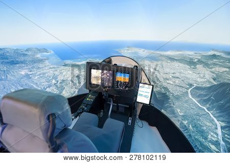 Pilot View From Inside A Modern Helicopter Flight Simulator
