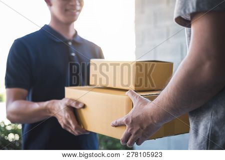 Delivery Mail Man Giving Parcel Box To Recipient, Young Owner Accepting Of Cardboard Boxes Package F